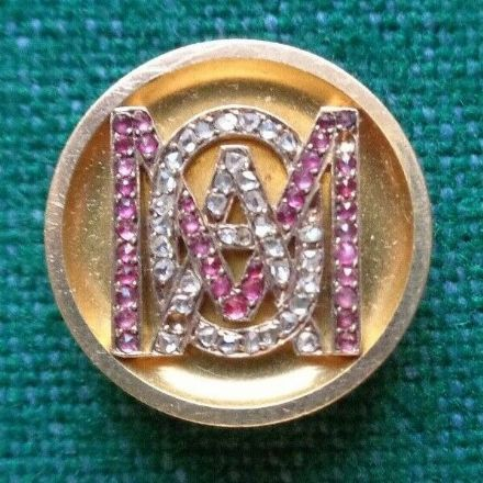 Antique Imperial Russian Gift Gold Button Tsar Alexander III Romanov to Dagmar